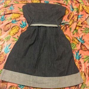 Theory Denim Style Strapless Dress